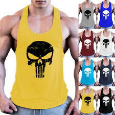 Mens Skull Casual Vest T-shirt Gym Fitness Workout Muscle Bodybuilding Tank Top