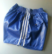 RUGBY SOCCER FOOTBALL blue SHORTS SIZE S/M NYLON WET LOOK NEW  RETRO VINTAGE