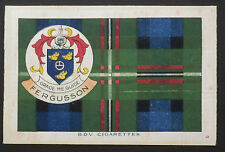 """Fergusson Clan Tartan and Coat of Arms 6"""" x 4"""" Silk Card issued in 1922"""