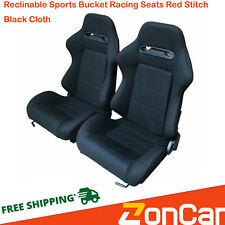 Reclinable Racing Seats Cloth Red Stitch Black Left+Right Slider Brackets ZonCar(Fits: More than one vehicle)