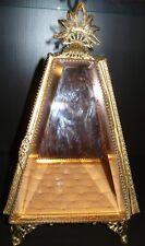 Vintage Antique Gold Filigree Ormolu Beveled Glass Jewelry Casket Pyramid Tower