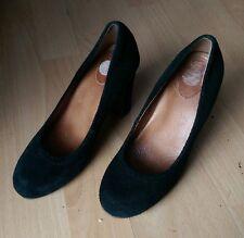 Scholl Gamuza Cuero Negro De Mujer Tribunal Resbalón en Zapatos de Taco Alto Talla UK 3 EU 36