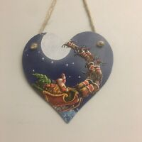 Santa And Sleigh wooden hanging Heart Christmas Decoration 12cm