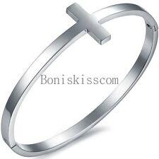 Stainless Steel Silver Tone Sideways Cross Cuff Bangle Bracelet Birthday Gift
