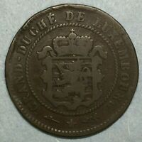 1854 Luxembourg 5 Centimes Coin Copper #ZS182