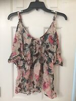Plenty By Tracy Reese Top Blouse Cutouts Floral Abstract Print Gauzy XS