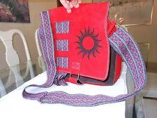 Original TRIBU Suede Leather & Fabric Multi-Color Messenger Shoulder Bag Handbag