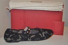 NIB VALENTINO Lace Ballet Flat Shoe with RockStud Studs & Bow BLACK 36 / 6