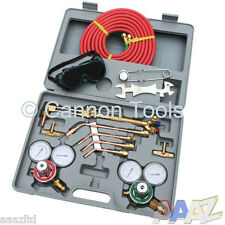 OXY ACETYLENE GAS WELDING CUTTING KIT SET OXYGEN REGULATOR TORCH TIPS HOSE