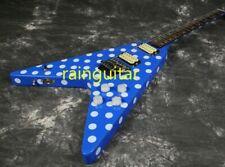 Fly V Randy Rhoads Electric Guitar Polka Dot Floyd Rose Bridge Blue