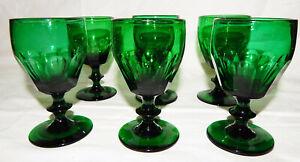 6 Stück WEINGLAS WEINGLÄSER grün BIEDERMEIER um 1850