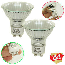 2× 50 WATT GU10 120V MR16 CLASSIC COOL WHITE HALOGEN GLOBES LIGHT BULBS LAMP EXN