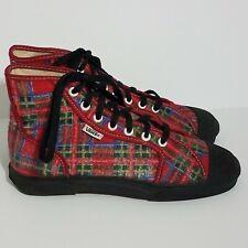 VANS Red Flannel Tartan Plaid Hi top Sneakers Black Cap Toe Lace Up Sz 7 154431