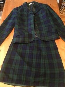 VTG 80s Pendleton USA Skirt Suit Blazer Set Black Watch Tartan Wool 10