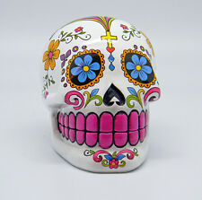 White Sugar Skull Mexican Day of the Dead Dia de Los Muertos Coin Bank