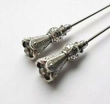 2PCS Matching Pair Of Vintage Style Hat Pins - 8.5cm Long - Antique Silver Tone