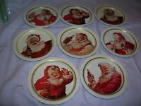 Vintage Coca Cola Tin Coasters Set of 8 all Different Santas