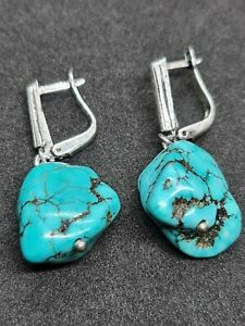 gorgeous sterling silver Turquoise stone healing earrings