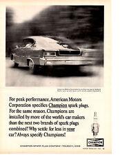 1965 AMC MARLIN SPORTS FASTBACK ~  ORIGINAL CHAMPION PRINT AD