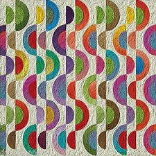 Funky Rainbow Half Circle pattern 12 x 12 inch mono deluxe Needlepoint Canvas