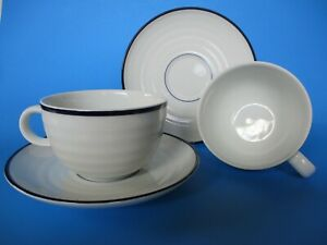 Set 2-Crate & Barrel 10oz Coffee/Tea-Cup&Saucer Blue Band/White Porcelain-Unused
