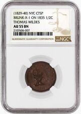 1835 1/2C Classic Head Half Cent Brunk-X-1 Thomas Wildes Counterstamp NGC AU55