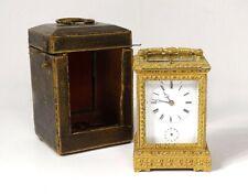 Pendulette d'officier voyage bronze doré réveil sonnerie demande étui XIXè
