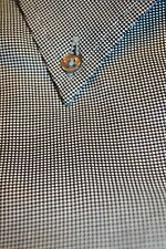 $175 Equilbrio Black and White Birdseye Dress Shirt size 15 x 35.5 C145