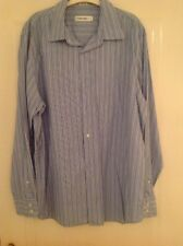 Calvin Klein Blue with white and black stripes, Mens Shirt - Large