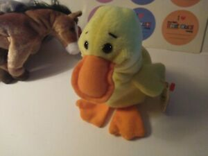 TY Original Beanie Baby Quackers the Duck With Swing Tag 1993 tush tag Vintage