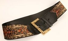 "Renaissance Look Brocade Belt For Waist Size 26"" or 28"" Cuir / Paris"