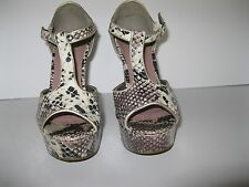 "PINK AND PEPPER LADIES SNAKESKIN LOOK PLATFORM HEELS 7 M, 5"" HEELS"