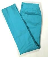 BODEN Womens Teal Blue Slim Leg CHINO PANTS Pleated Size 4 LONG (ANKLE)