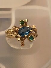 Vintage Retro 10K Yellow Gold Topaz & Emerald Ring Size 6