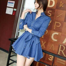 Women Slim Fit Denim Jean Dress Bowknot Belt Long Sleeve Shirt Dress Stylish