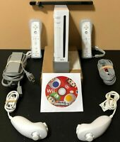 Nintendo Wii White Console RVL-001 - Super Mario Bros Bundle - Tested Working