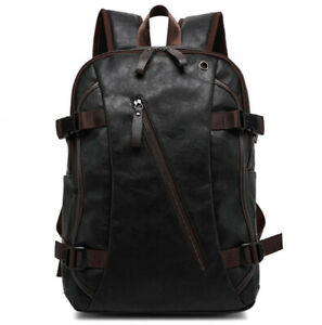 Men's PU Leather Backpack School Bag Travel Shoulder Satchel Book Bag Rucksack