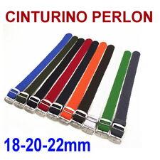 CINTURINO OROLOGIO PERLON NERO BLU ROSSO GRIGIO ARANCIONE 18mm 20mm 22mm