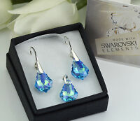 925 SILVER EARRINGS/SET MADE WITH SWAROVSKI CRYSTALS 16mm BAROQUE -AQUAMARINE AB