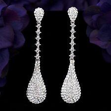 Rhodium Plated Clear Crystal Rhinestone Long Drop Chandelier Dangle Earrings 080
