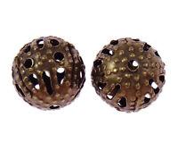 100 Metallperlen 8mm Rund Kupfer Filigran Perlen Zwischenteile Spacer M24