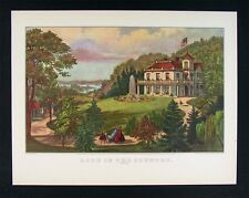 Currier and Ives Print  Life in the Country Evening - Plantation House Americana