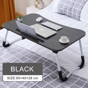 Black Foldable Bed Tray Lap Desk Portable Lap Desk with Tablet & Phone Slots