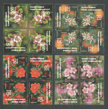 North Cyprus Stamps SG 0786-89 2014 Fruit Tree Flowers cross tete-beche - MINT
