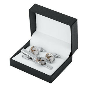 Men's Luxury Silver Cuff Links Steampunk Gear Watch Cufflinks with Tie Clip Set