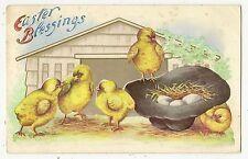 ANTIQUE EASTER POSTCARD FIVE YELLOW CHICKS BLACK HAT NEST EGGS GARAGE HOUSE 1912