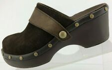Crocs Cobbler Studded Clogs Brown Suede Casual Slides Comfort Mules Womens US 6