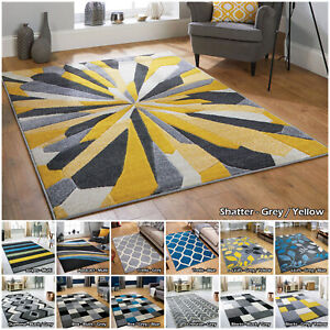 GREY YELLOW BLUE MULTI NEW LARGE QUALITY MODERN THICK SALE CLEARANCE RUG RUNNER