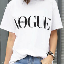 Fashion Girl Short Sleeve Tops Clothes for Women Vogue Letter Printed T-shirtgit Red M