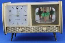 Rare Vintage Goldhill Germany Tv Shaped Dancing Musical Alarm Clock Mid Century